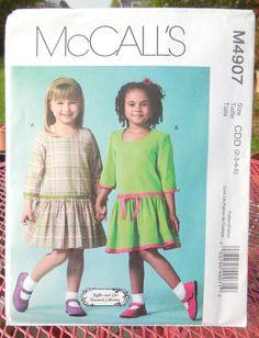 McCall's 4907  Cute Girls' Drop-Waist Dresses  by Clutterina