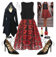 """Little RED Riding Hood"" by denibrad ❤ liked on Polyvore featuring Zac Posen, Valentino, Karma Jewels, Dolce&Gabbana, OPI, valentino and zac"