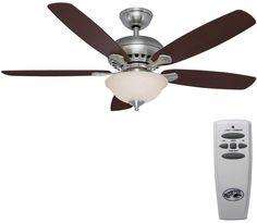 Hampton Bay Southwind 52 in. Brushed Nickel Ceiling Fan w/ Remote Light Kit, New #HamptonBay