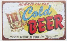 Cold Beer on tap TIN SIGN funny vtg/retro mug art bar pub metal wall decor OHW