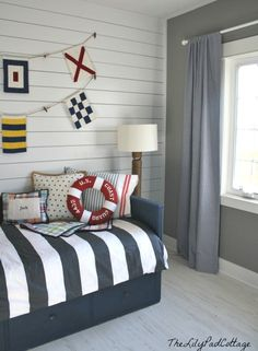 Nautical room for a boy {big boy room inspiration}- WALLS Clean Bedroom, Cozy Bedroom, Kids Bedroom, Kids Rooms, Boys Bedroom Ideas 8 Year Old, Toddler Rooms, Toddler Bed, Boys Nautical Bedroom, Nautical Bedding