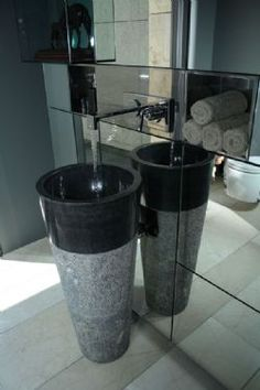 Free Standing Black Marble Pedestal Sink  Bathroom 90 cm x 40 cm ( Cono Model )
