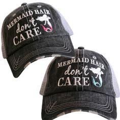 5e78024909f Distressed Trucker Hat - Mermaid Hair Don t Care - Custom Trucker Cap -  Worn Look Trucker Hat - Baseball Cap - Embroidered Ball Cap - Summer by ...