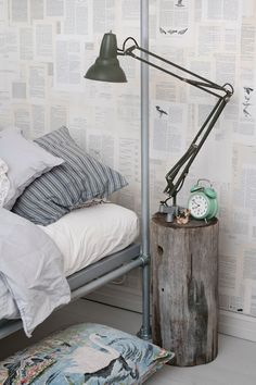 Reclaimed wood stool, book pages #white #vintage #bed The Home Of the Blogger: Katja Rinkinen