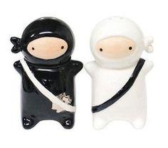 Japanese Ninja Kids Salt & Pepper Shaker Set, Black and White