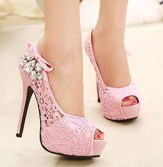 Hot Sale 2014 Fashion Women Sandals Open Toe Pumps Lace & Rhinestone High Heel Platform Shoes, Free Shipping US $39.40