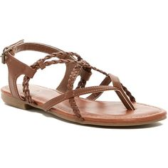 MIA Dannie Braided Thong Sandal (99 PLN) ❤ liked on Polyvore featuring shoes, sandals, luggage, braided sandals, flat shoes, toe thong sandals, criss-cross sandals and woven sandals