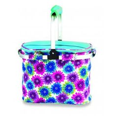 Picnic Plus PSM-148BB Shelby Collapsible Thermal Foil Insulated Market Cooler Tote in Blue Blossom