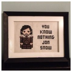 Game of Thrones Jon Snow Cross Stitch Picture Framed by K8BitHero, $30.00