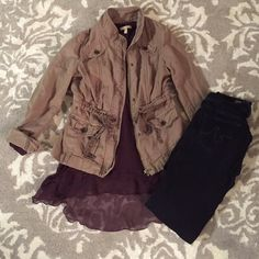 ✨SALE✨Anthropologie jacket This is such a cute fall jacket to throw over a long sleeve!! The details in it makes the jacket THAT much more special! Also, you don't usually find this color in many clothes but it really goes with every color imaginable (: worn a few times so in good condition! Anthropologie Jackets & Coats