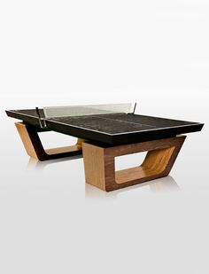 Ultra-Modern Ping Pong Table, sandblasted glass net and aluminum brackets, inspired by 1940's boat design.