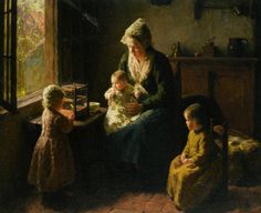 Watching the Canary :: Bernard Jean Corneille Pothast - Woman and child in painting and art