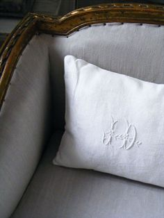 Throw pillow from antique embroidered and monogrammed white linen