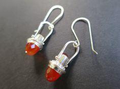 Carnelian Bullet Earrings Drops by fentondesign on Etsy Bullet Earrings, Drop Earrings, Custom Caps, Sparklers, Carnelian, Jewelery, Bling, Artists, Metal