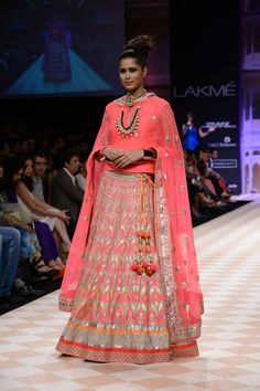 Pink lengha by Anita Dongre at LFW 2013
