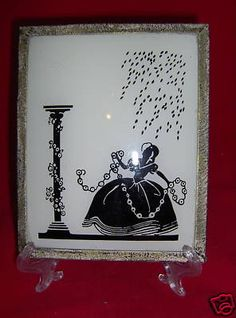 Silhouette Reverse Painted Convex Glass Victorian Lady Black White Vintage | eBay