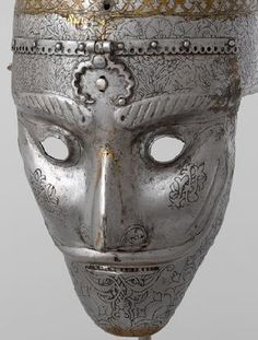 Safavid face-mask Helmet, Safavid Empire, Persia. 16th century. Engraved Steel. Kept in The Moscow Kremlin Museum, Russia. This helmet is a rare example of Safavid armors. This helmet is beautifully made and the face mask has a nice looking mustache. It was most likely a gift of a Safavid shah to a Russian Tsar. Such helmets have been used in Iran for many years.