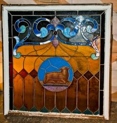 Stained Glass Square panel-Lamb http://www.phillyprovenance.com/inventory/stained-glass-square-panel-lamb/