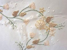 Silk ribbon embroidery and beading