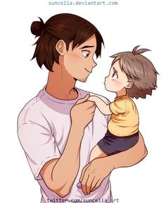 Haikyuu!! Asahi with little Suga by Suncelia on DeviantArt