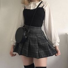 Rating for Japanese Kawaii Shirt + Plaid Pleated Skirt - Frauen Outfit Ideen - Trends 2020 Hipster Outfits, Edgy Outfits, Mode Outfits, Fashion Outfits, Fashion Ideas, Modest Fashion, Womens Fashion, Summer Outfits, Goth Girl Outfits