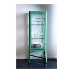 FABRIKÖR Glass-door cabinet, light green