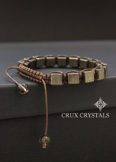 Fools Gold, Pyrite Cube Shaped Beaded Mens Bracelet Gemstone Shamballa Energy Bracelet Christmas Gift for Him Wrap Bracelet Men's Macrame