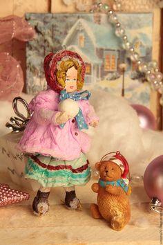 """Купить ватная игрушка """"Девочка на коньках"""" - бордовый, ватная игрушка, винтаж, ретро, новогодние украшения"""