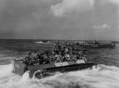 7th infantry division landing on Okinawa in LVT Amtrac