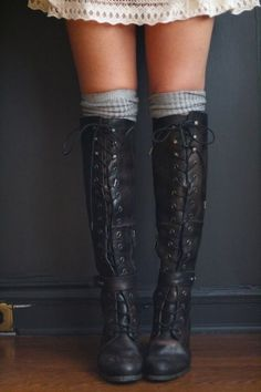 6ab1930edbb Awesome boots Leather Knee High Boots