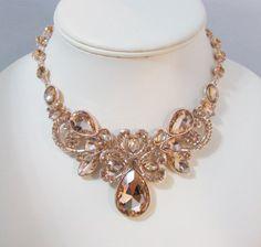 Rose Gold tone Bridal Anweisung Collier-Set Hochzeit
