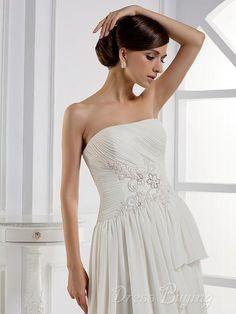 Charming A-line Strapless Floor-length Court Train Layered Wedding Dress