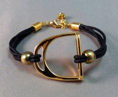 Gold Stirrup and Leather Bracelet, Equestrian Bracelet, Stirrup Bracelet, Equestrian Jewelry on Etsy, $35.00