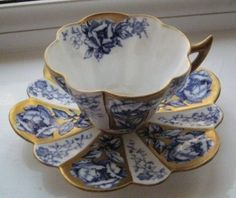 Victorian Foley Wileman Tea cup and Saucer - Fine Porcelain Antique Teacup in Blue, White and Gold. Victorian Foley Wileman Tea cup and Saucer - Fine Porcelain Antique Teacup in Blue, White and Gold. Antique Tea Cups, Vintage Cups, Antique Dishes, Vintage Party, Vintage China, Café Chocolate, China Tea Cups, Teapots And Cups, Tea Service