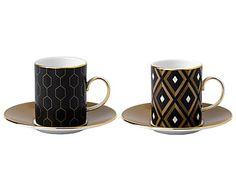 2 Tasses à expresso et 2 sous-tasses ARRIS - noir et doré