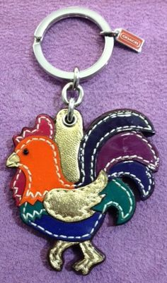 Coach Colorful Rooster Key Chain