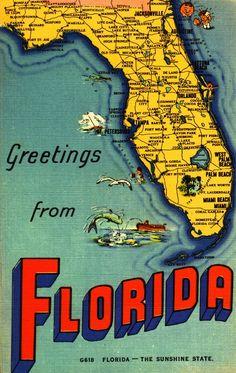 Florida: vintage postcard map of the Sunshine State Florida Girl, Destin Florida, Florida Living, Old Florida, Vintage Florida, Florida Beaches, South Florida, Miami Florida, Coastal Living