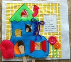 RHYME TIME felt Quiet Book .PDF Pattern by LindyJDesign on Etsy. There was an old woman who lived in a shoe....have fun playing with some of the kids!