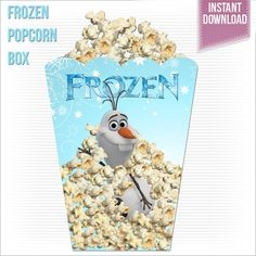 Large Olaf Disney Frozen Printable Popcorn by RoyaltyInvitations, $3.95