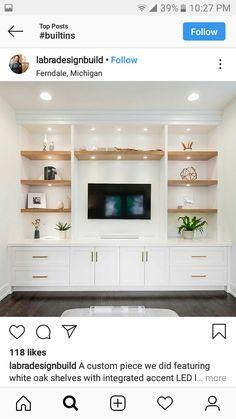 Interior Design Living Room, Living Room Designs, Loft Wall, Oak Shelves, White Oak, Built Ins, New Homes, Furniture, Home Decor