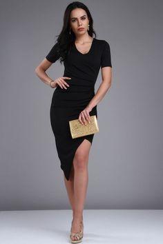 Siyah, Derin Yırtmaçlı Kruvaze Etekli, Önü Büzgü Elbise Zet.com'da 169 TL