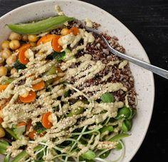 Monash University Low FODMAP Diet: Vegan Roasted Chickpea and Vegetable Bowl with Peanut Cream
