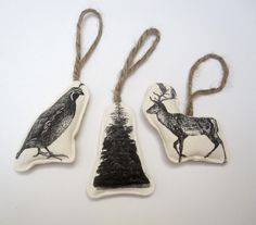 animal ornaments by Pilosale at Terrain, Remodelista  Can make with my transfer paper!