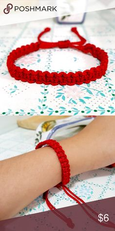 """2 for $7 ⇨ Red Square-Knot Macrame Bracelet 2 for $7 ⇨ ASK ME TO CREATE A SEPARATE LISTING W/ YOUR BUNDLE OF LIKES! DON'T USE """"ADD TO BUNDLE"""" BUTTON 