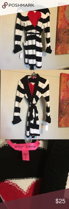 Betsy Johnson robe Black and white striped with red heart on the back and pockets in the front!:) brand new. Never worn. Bundle to save!! Betsey Johnson Intimates & Sleepwear Robes