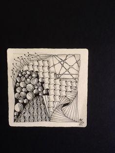 By Jill Sugarman. Second tile from class with Hannah Lieberman, CZT. Tangles used:  Fescu, Cadent, 'Nzeppel, Paradox, Cruffles, Mi2. Zentangle