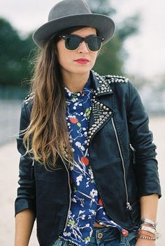 leather + studs + floral = lovely