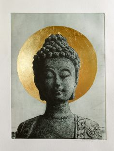 "Solar Plate Print with Gold Leaf Image 6""x8"" on paper  With out frame $185 Leaf Images, Healing Meditation, Gold Leaf, Printmaking, Picture Frames, Buddha, Solar, Plate, Leaves"