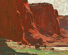 Edgar Payne (1883-1947). Riders Passing Through, Canyon de Chelly, Arizona. Oil on Canvas, 18 x 22 in.