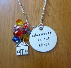 "Disney's UP Inspired Necklace. Adventure is out there! House with Swarovski crystal ""balloons"". By WithLoveFromOC, $26.00 & free shipping."